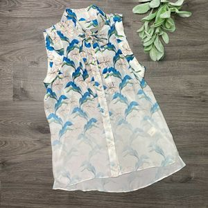 REBECCA MINKOFF   sz 2 floral Couric silk blouse